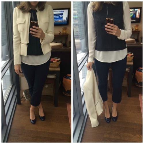 white blazer navy